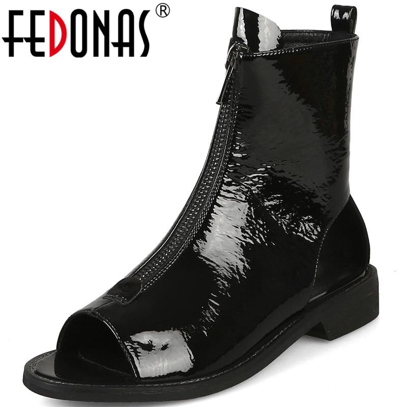 أحذية FEDONAS ، أحذية صيفية ، أحذية حفلات ، عتيقة ، سحاب ، جلد براءات الاختراع ، كعب مربع ، مضخات ، مجموعة جديدة 2021