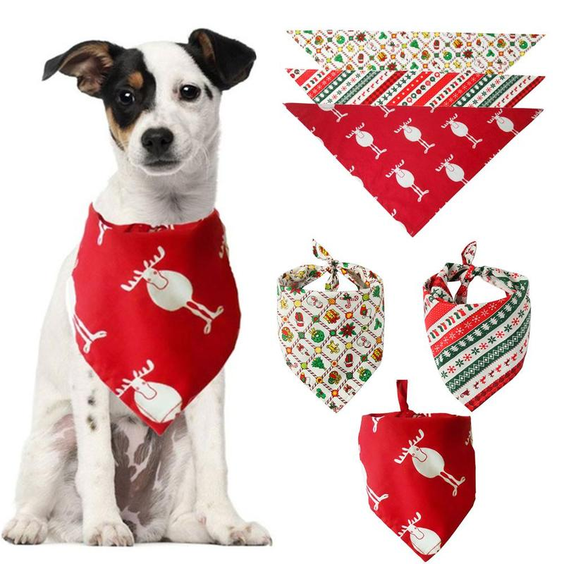 Christmas Pet Dog Bandana Small Large Dog Bibs Towel Scarf Halloween Pumpkin Printing Puppy Pet Grooming Costume Accessories