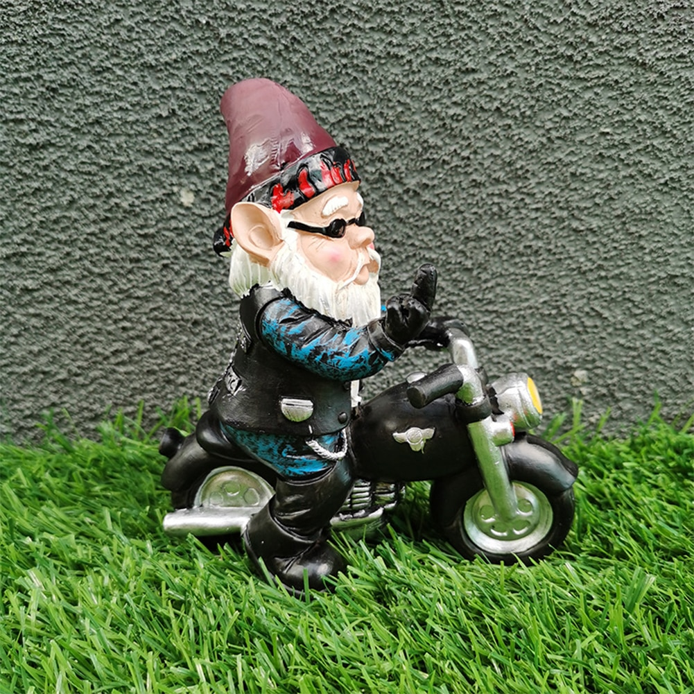 Resin Gnome Statue Riding motorcycle DIY Garden Ornaments Funny Resin  Gnome Figurines Santa Claus Crafts Statue Home Decor