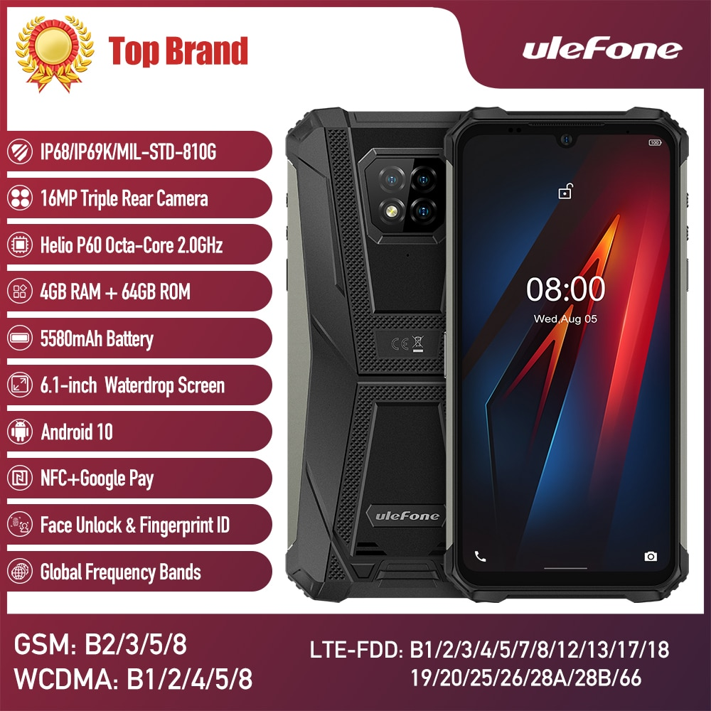 Перейти на Алиэкспресс и купить Ulefone Armor 8 Android 10 Мобильный телефон водонепроницаемый смартфон 5G WiFi Восьмиядерный 6,1 дюйма 4 Гб 64 Гб 5580 мАч Быстрая зарядка