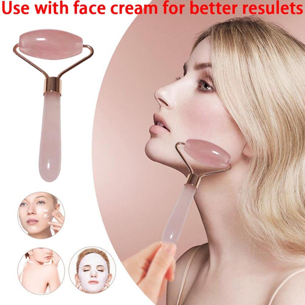 Natural Rose Quartz Jade Roller Derma Face Massager Gua Sha FacialPush Massage Roller Lifting Wrinkle  Beauty Tool Pink