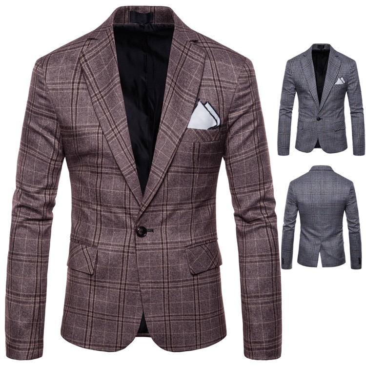 Mens Blazer Jacket Fashion British Style Men's Leisure Business Suit Personality Male Clothing High Quality