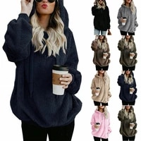 womens plus size fluffy hooded hoodies jumper pullover sweatshirt casual jackets
