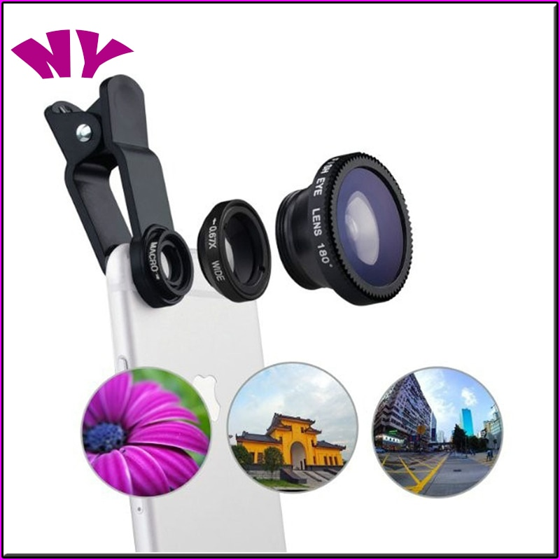 3 in 1 Wide Angle Macro Fisheye Lens Camera Kits Mobile Phone Fish Eye Lenses with Clip 0.67x for iP