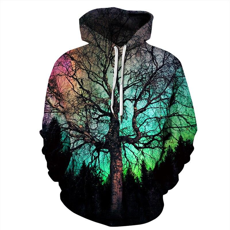 ZOGAA New 2019 Funny Hoodies Men Women Fashion Sweatshirt 3D Tree Print Hoodie Pullover Streetwear Hoody Tracksuits Tops