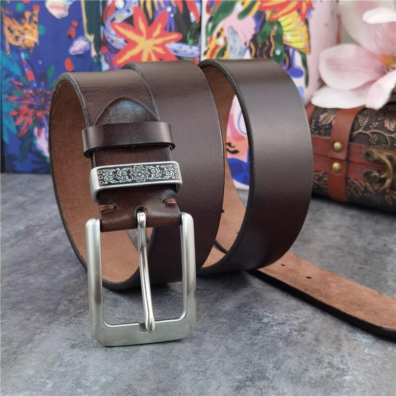 حزام مشبك من الفولاذ المقاوم للصدأ للرجال ، سميك للغاية ، جلد طبيعي ، فاخر ، SBT0011