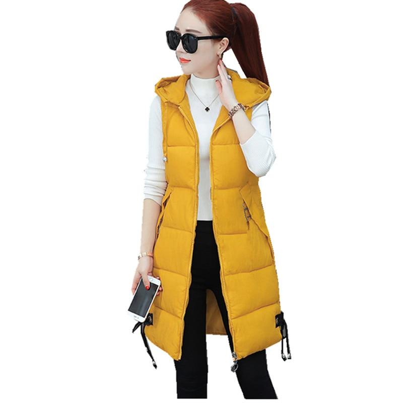 Tallas grandes para mujeres chaleco chaqueta de invierno abrigo de bolsillo con capucha chaleco acolchado de algodón Casual cálido chaleco sin mangas delgado para mujeres