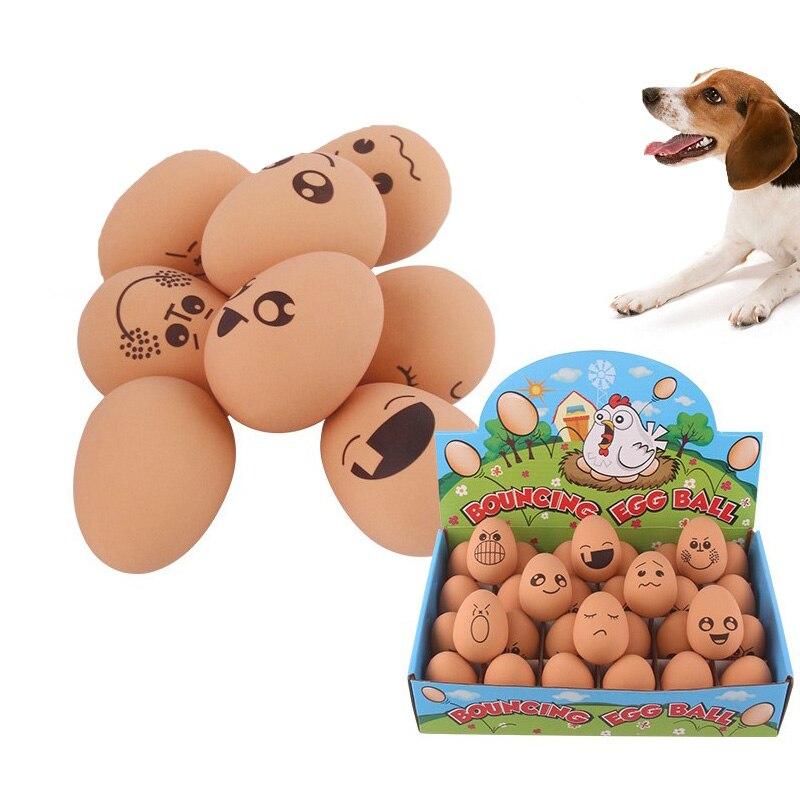 Жевательная игрушка для домашних животных, милая имитация резинового яйца, упругий шар, кошка и собака, Интерактивная молярная игрушка, ран...