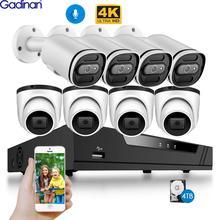 Gadinan 4K система видеонаблюдения 8CH POE NVR 8MP IMX415 наружная Водонепроницаемая POE аудио 2,8 мм IP камера H.265 комплект видеонаблюдения