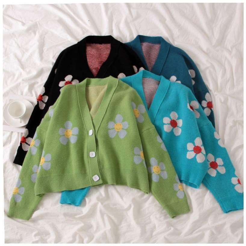 Вязаный кардиган в стиле преппи с цветами, свитер, женское свободное элегантное укороченное повседневное пальто с V-образным вырезом и узор...