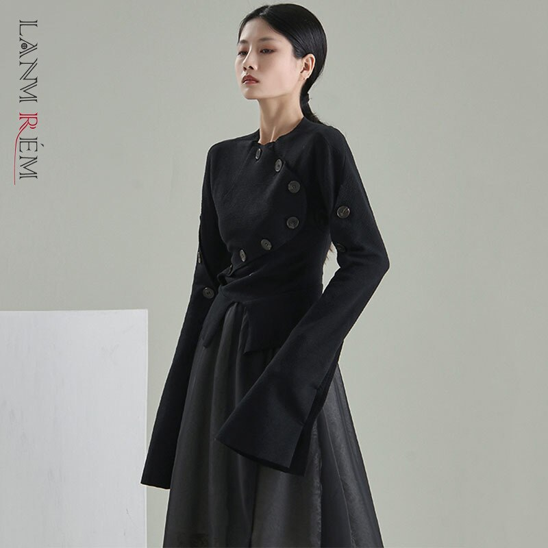 LANMREM النساء قميص أسود 2021 الخريف جديد زر غير النظامية طويلة اندلع الأكمام مزاجه قمصان الإناث موضة 2W433