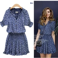 women short sleeve sleeve print cotton v neck dress high waist chiffon dress bandage dress