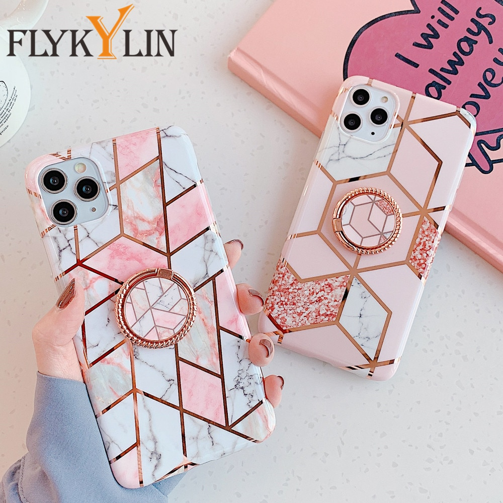 FLYKYLIN Ring Holder Marble Case on For Samsung A50 A51 A40 A70 A41 A71 Note 9 10 20 Ultra S8 S9 S10