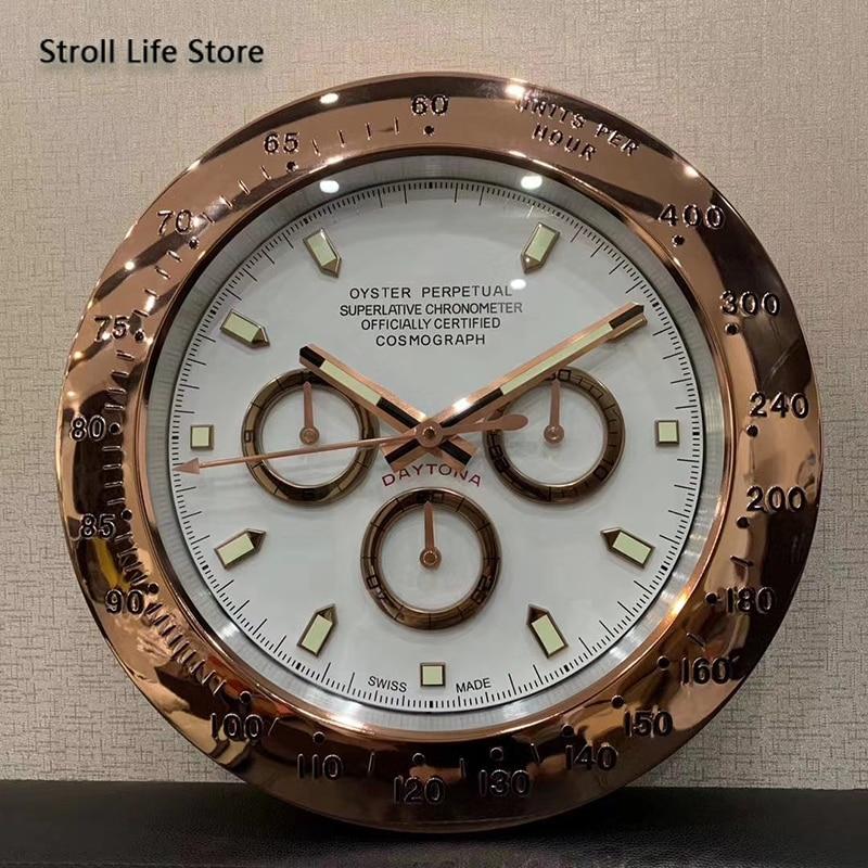 Creative Rose Gold Wall Clock Metal Silent Luminous 3d Large Clocks Wall Watches Home Decer Calendar Birthday Gift with LOGO