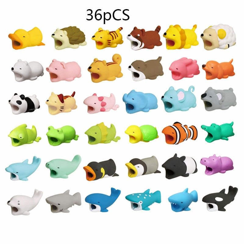 1pcs Cute Cable Bite Animals Protector For Winder Iphone Charging Cord Cable Buddies Cartoon Cable Biter Phone Holder Accessory