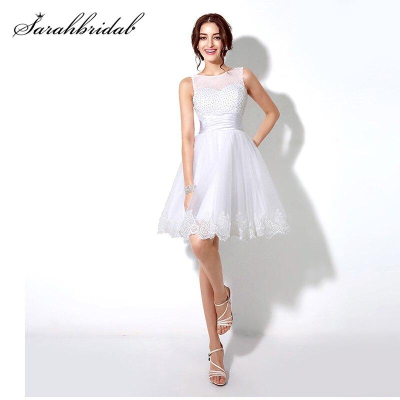 Vestidos De Fiesta Cortos A la moda, apliques De perlas blancas, elegantes, sin mangas, línea A, vestidos De graduación, Vestido De fiesta, barato SD180