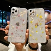 bling glitter real flower phone case for iphone 11 pro xs max x xr dry floral clear case for iphone 7 8 plus soft silicone cover