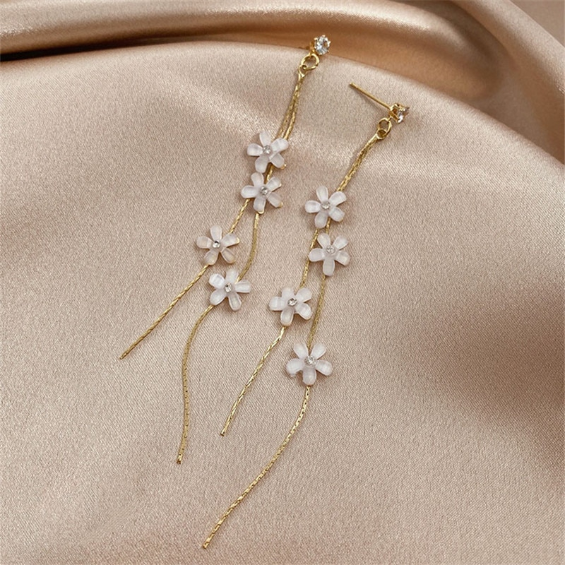 Pendientes largos coreanos Circonia cúbica exquisita de flores para mujer, bonitos pendientes románticos de cristal llamativos, joyería de fiesta