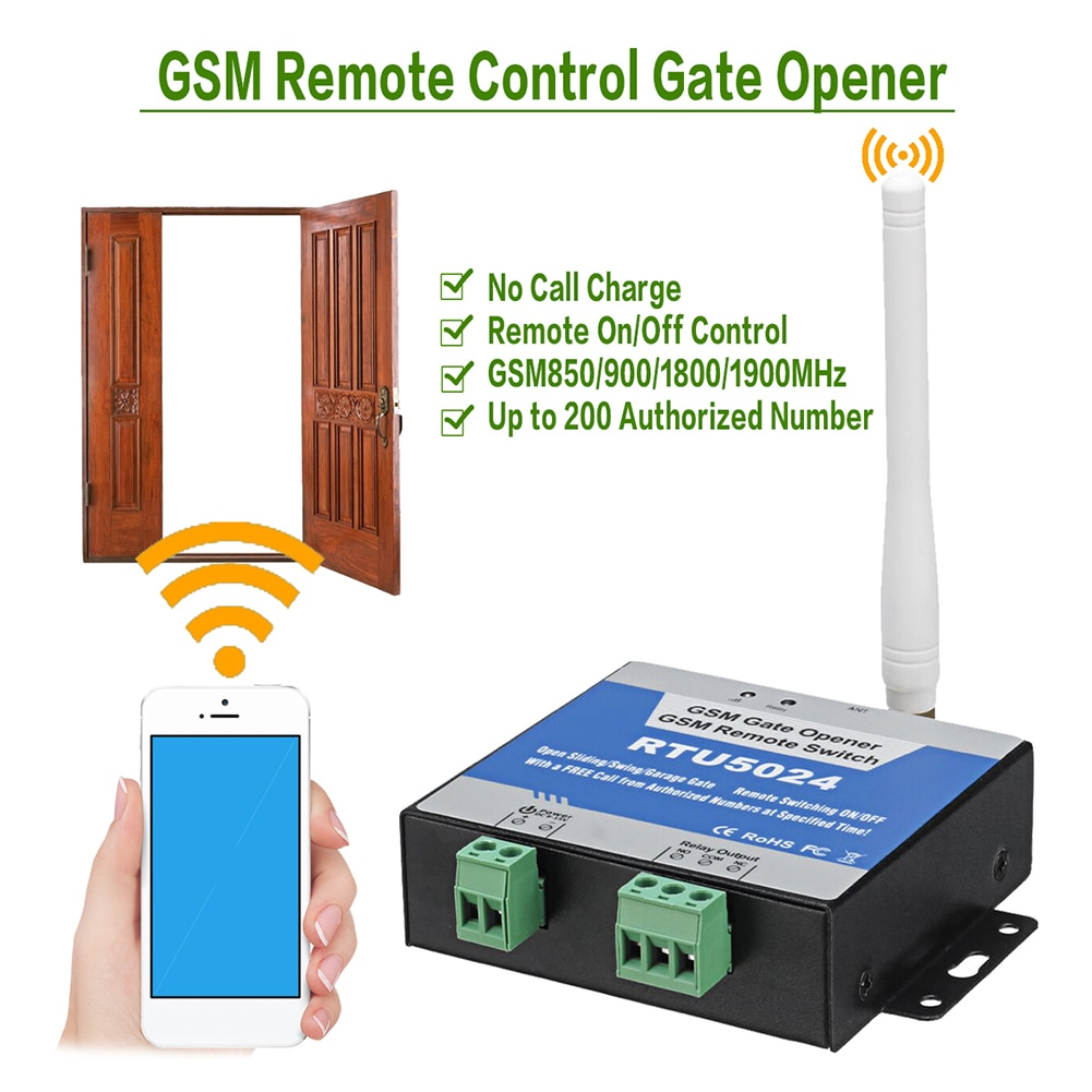 GSM реле открывания ворот RTU5024, беспроводной пульт дистанционного управления, Открыватель дверей, бесплатный звонок 850/900/1800 МГц
