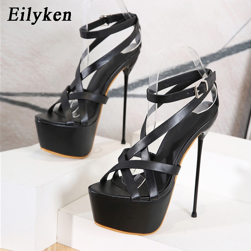 Eilyken موضة الأسود ضيق الفرقة المفتوحة تو الخنجر عالية الكعب الكاحل مشبك حزام المرأة الصنادل 2021 الصيف أحذية منصة