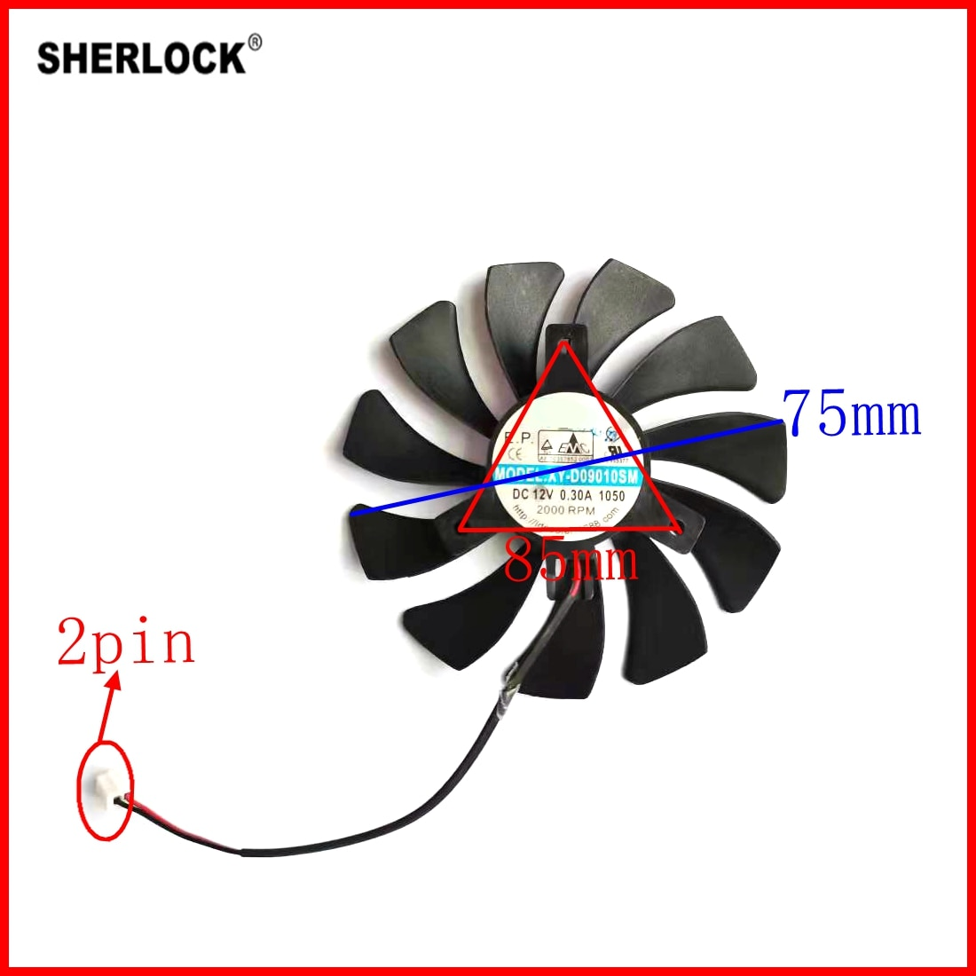 HA9010H12SF-Z D09010SM 2pin 85 мм для вентилятора видеокарты msi GT1030 GTX1050 1050TI 1060 RX550