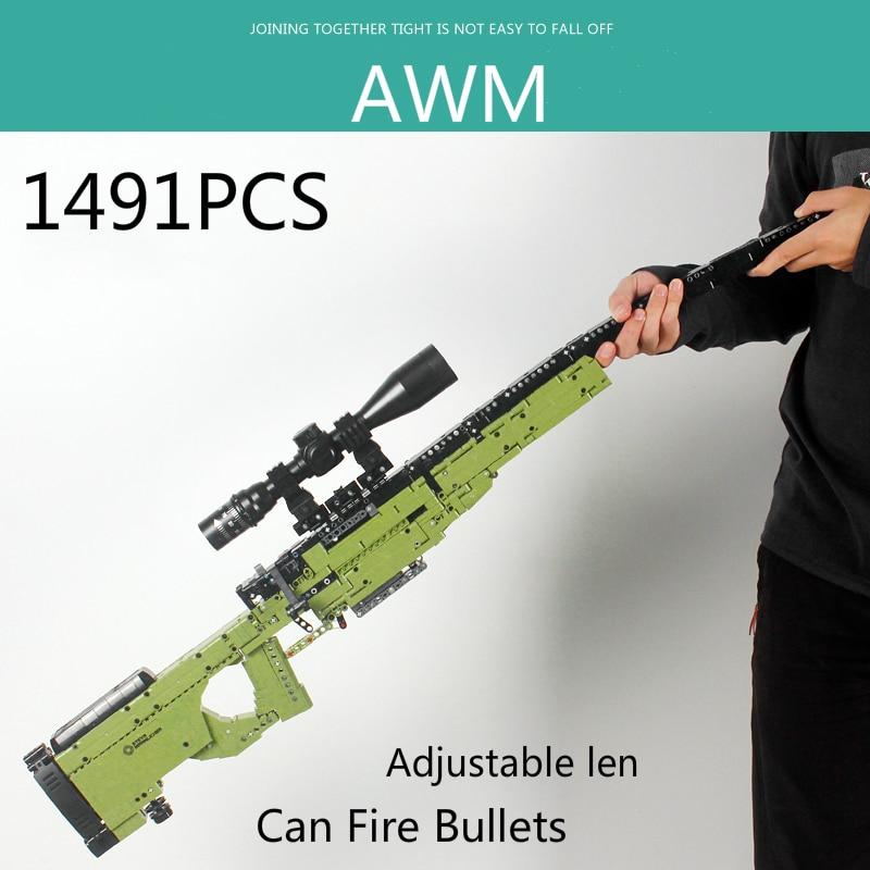 New 1491pcs AWM Sniper Rifle Gun Model Building Blocks High-tech Guns Bricks PUBG Military SWAT Weapon Toys