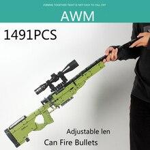Nouveau 1491 pièces AWM Sniper fusil modèle de fusil blocs de construction techniques pistolets briques PUBG militaire SWAT arme jouets
