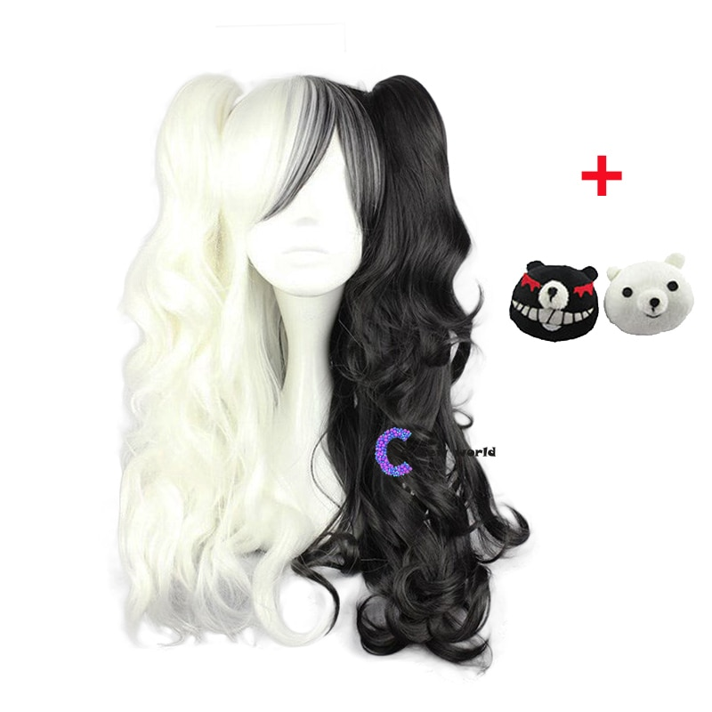 2020 Dangan Ronpa Monokuma Long Ponytails Curly Wig Cosplay Costume Danganronpa Heat Resistant Synth
