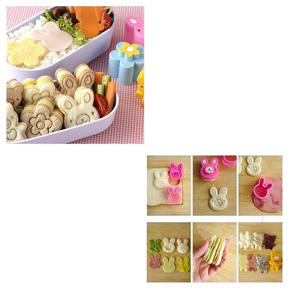 3 uds niños seguridad lindo sándwich Mini cortadores sellos DIY pan galleta en relieve dispositivo para niños moldes de Bento Sushi decoración de arroz