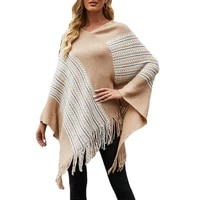 fashion womens cloak shawl sweater new autumn casual hot sale v neck pullover color striped tassel loose knit sweater donsignet