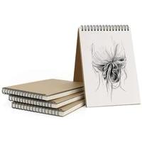 A5 Sketchbook 5 Pack  Sketch Book Art Spiral 30 Sheets  Blank Page Scrap Book  Kraft Cover Sketch Drawing Pad Art Book