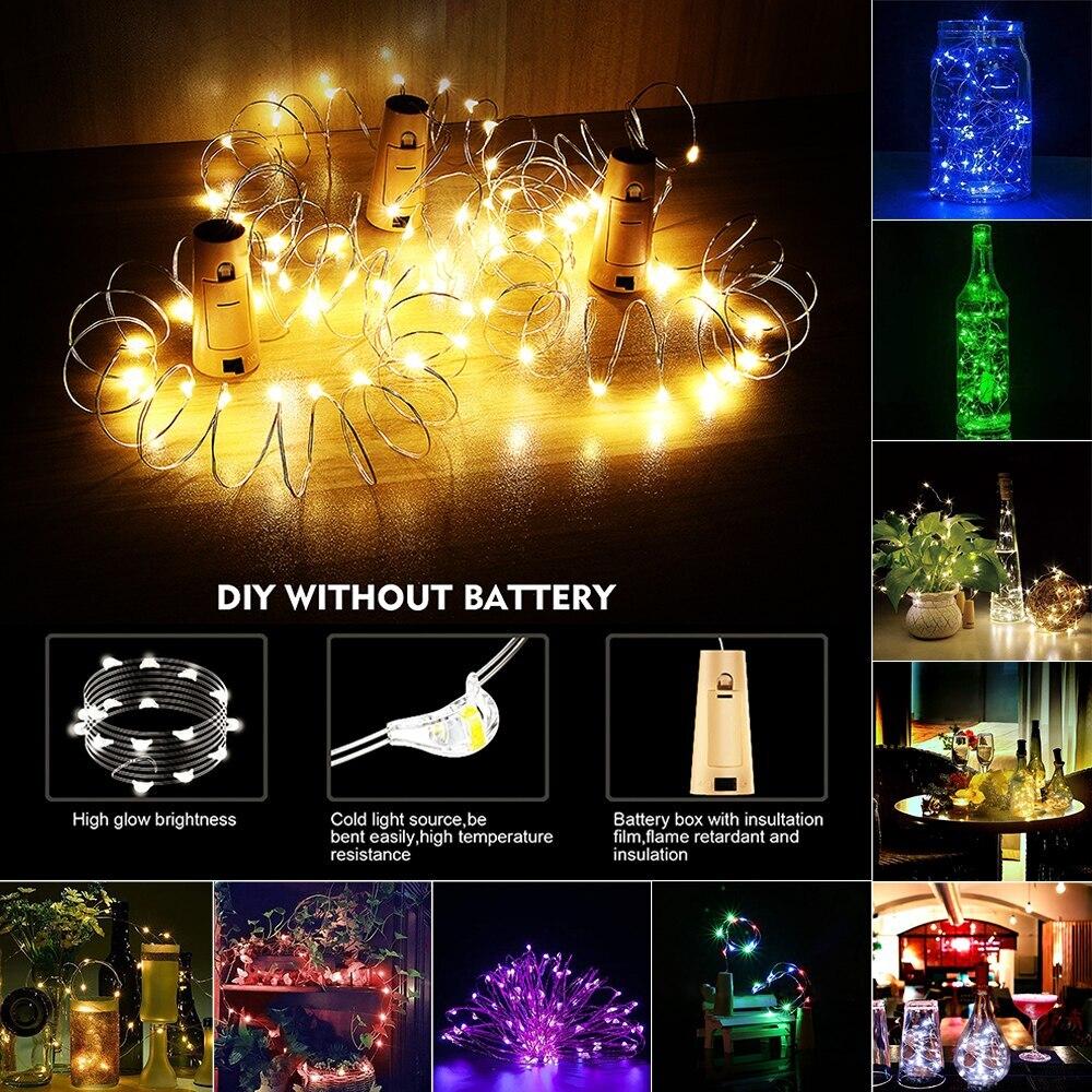 1m/2m/5m/10m/20m fio de prata cobre led string luzes de fadas iluminação do feriado para a árvore de natal guirlanda festa de casamento decoração