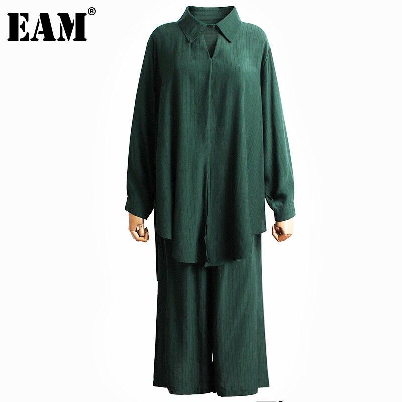 [EAM] بنطال ذو قصة أرجل واسعة كبيرة الحجم قطعتين بدلة جديدة التلبيب كم طويل أسود فضفاض تناسب المرأة موضة المد ربيع الخريف 2021 1DD5978