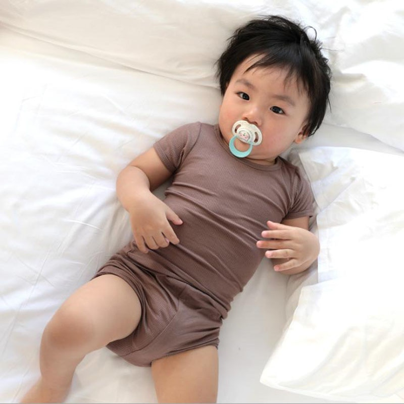 Ropa de verano para bebés y niños recién nacidos, pantalón corto de algodón acanalado, camiseta de manga corta + Pantalones cortos, conjunto de traje de tiro alto para bebés