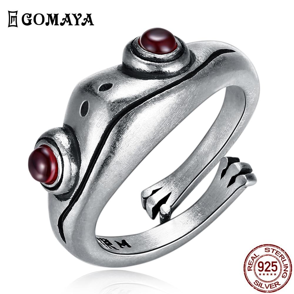 GOMAYA 925 Sterling Silver Vintage Frog Ring Cute Creative Animal Unisex Red Garnet Stone Adjustable Man Rings Fine Jewelry Gift
