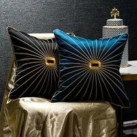 luxury chenille golden rope edging tassel pendant pillowcase dark green horse saddle printing sofa cushion cover pillow cover