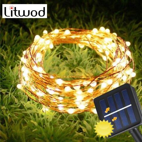 Guirnalda Solar de luces Led de 100leds, guirnalda de luces de vacaciones, 10m, 20m para decoración de bodas, fiestas, jardines, lámparas de Navidad