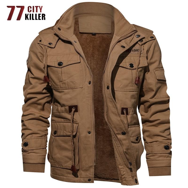 5XL Drop Shipping Winter Jacket Men Military Mens Jackets Warm Hooded Windbreaker Multi-pockets Bomb