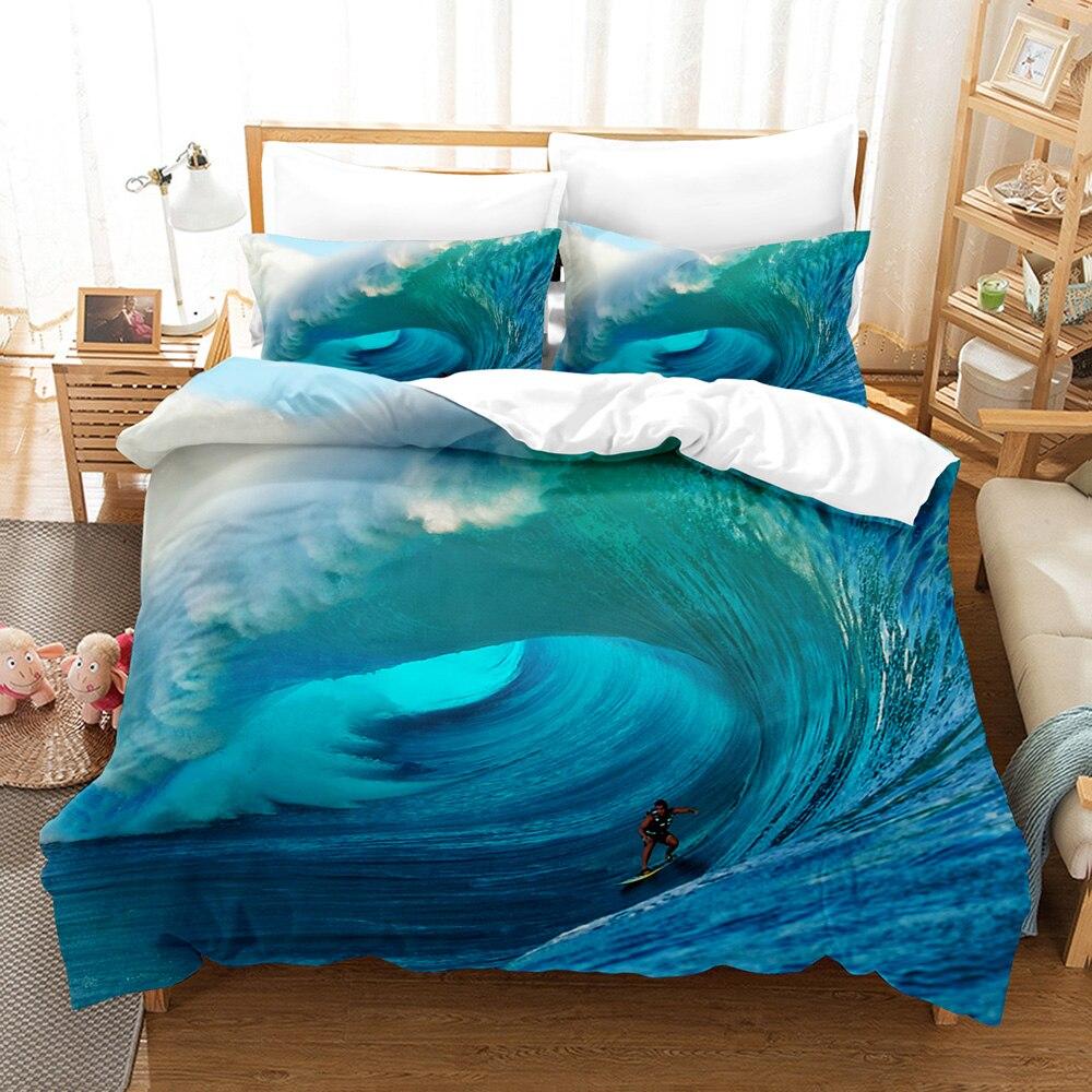 طقم سرير على شاطئ البحر مشهد واحد التوأم كامل الملكة الملك الحجم السفينة طقم سرير شجرة جوز الهند للأطفال غرفة نوم Duvetcover مجموعات 18