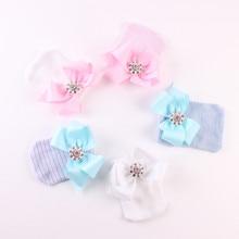 Cute Newborn Baby Girl Boys Soft Bowknot Hats Stripe Caps Beanie Hat Pink Blue White Winter Warm Hats Accessories