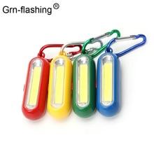 1 pièces Portable Mini COB porte-clés lampe de poche LED porte-clés porte-clés lampe torche avec mousqueton pour camping randonnée pêche
