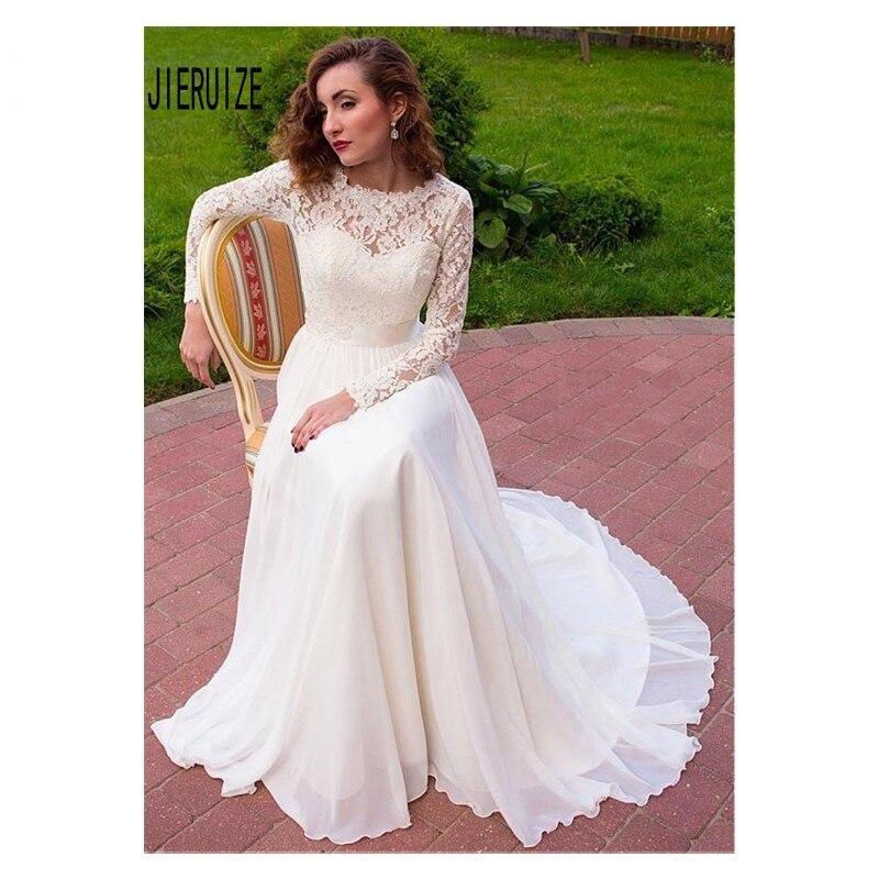JIERUIZE vestidos De boda De encaje De manga larga joya arco Sash...