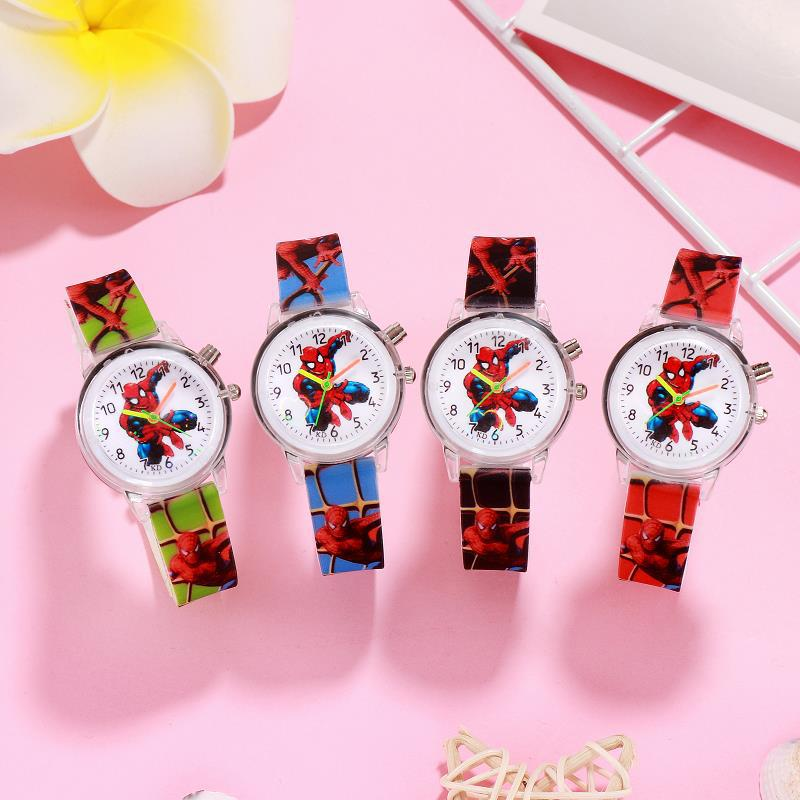 Disney Spiderman flash kids Watch men Watch Kids Watches Leather Quartz Watch Boy girl Gift Children
