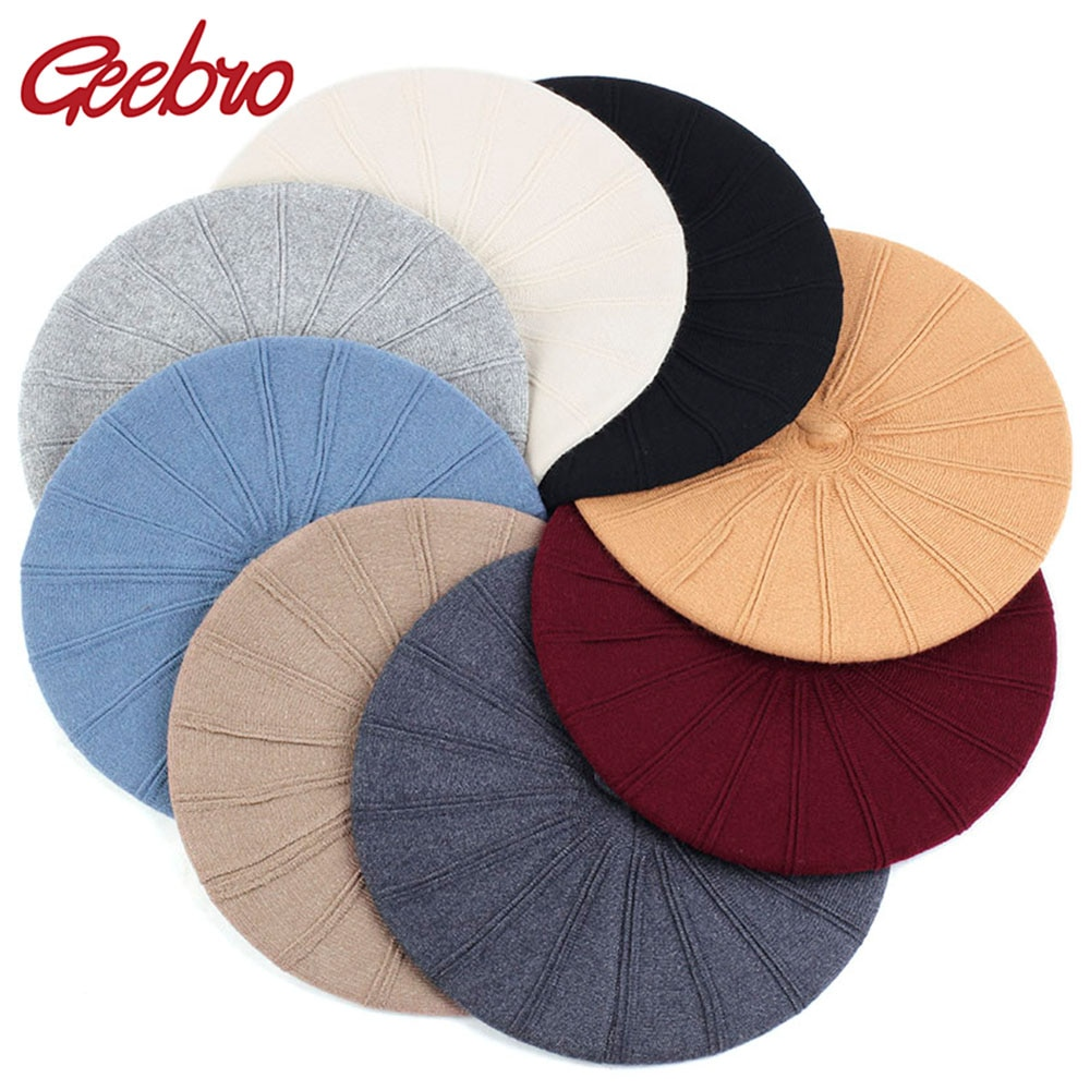 Wool Blend Fashion Beret Hat Women Girls Beret Hat Lady Solid Color Slouchy Winter Hats Female Bonne