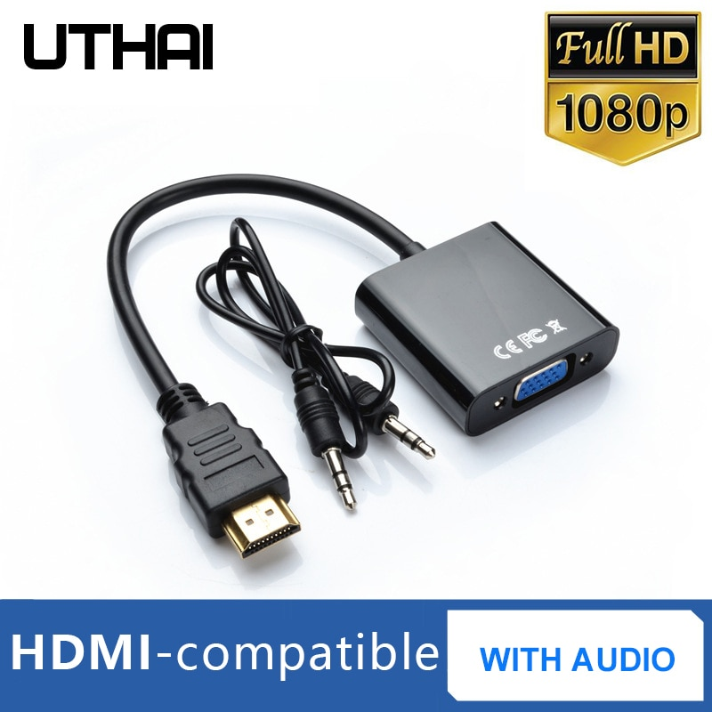 T20 HDMI-compatible1080P to VGA Adapter With 3.5mmAudio 4K HD Digital Cable For Laptop Tablet HDMI M