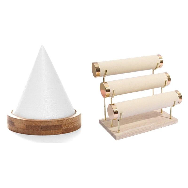 خشبية أسفل الذهب 3-Layer ساعة تخزين الرف ، سوار البيج والمجوهرات حامل عرض للأساور رف تخزين الرف الأبيض
