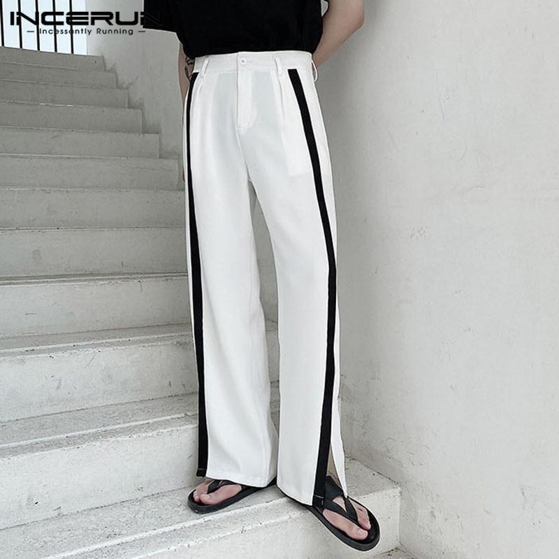 Man Pockets Straight Joggers Leisure Zipper Pantalones Masculina INCERUN Men Casual Pants Fashion Patchwork Loose Trousers S-5XL