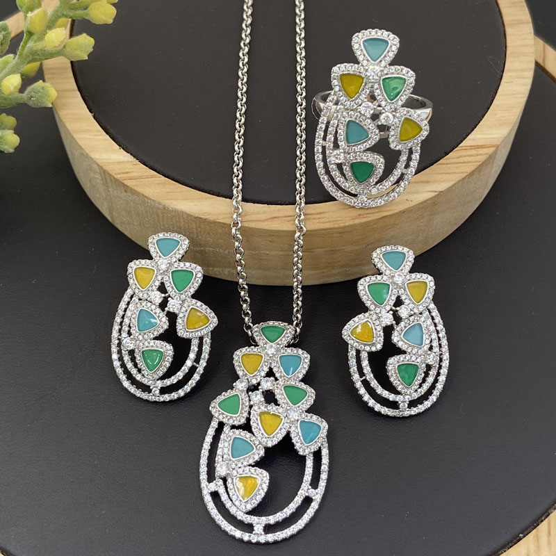 Lanyika модные ювелирные изделия набор корзина цветов Капельное масло микро инкрустация ожерелье с серьги и кольцо для женщин банкет лучшие подарки