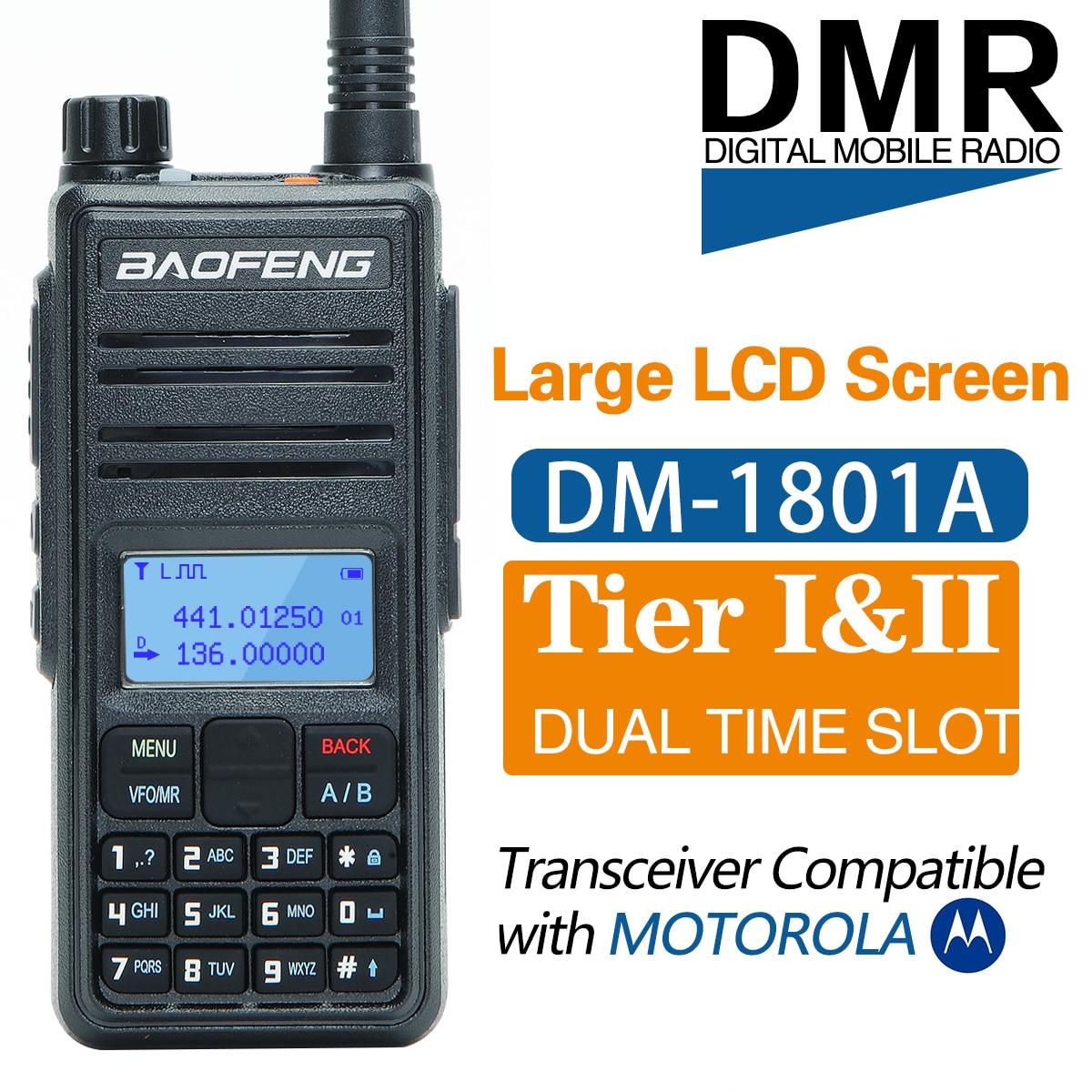 Baofeng DM-1801A اسلكية تخاطب المزدوج الوقت فتحة DMR الطبقة I & II راديو الرقمية التناظرية المزدوج الفرقة 136-174/400-470MHz الصيد DM-5R زائد