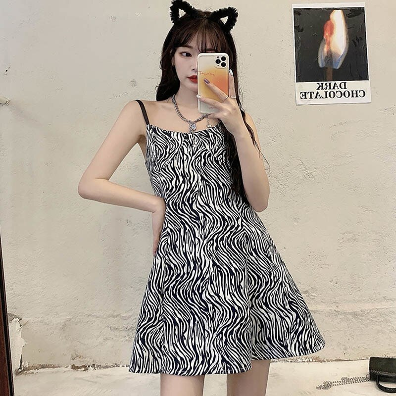 Korean Style Chic Vintage Dress Female Zebra Striped Design Sense Hight Waist Off Shoulder Trimming